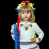 Футболка вышиванка с длинным рукавом для девочек до 152 размера