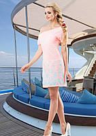 Летнее Легкое Платье Морское Розовое с Бирюзой  р. S - XL