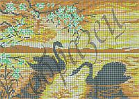 Схема для вышивки бисером Лебеди на рассвете(полная зашивка) КМР 2001