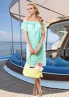 Нежное Воздушное Платье Из Батиста с Открытыми Плечами Бирюзовое  р. S - 3XL