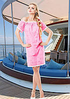 Нежное Воздушное Платье Из Батиста с Открытыми Плечами Розовое  р. S - 3XL