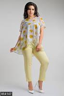 Красивый женский брючный костюм с асимметричной кофтой в цветочек стрейч шелк срейч шифон батал