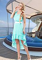 Яркое Летнее Платье Из Штапеля с Ассиметричным Подолом Бирюзовое р. S - XL