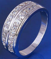 Кольцо белая позолота дорожка размер 18 (GF164)