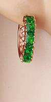 Серьги кольца позолота зеленые цирконы (gf569
