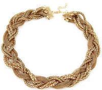 Ожерелье Колье плетеное золотистое tb1137