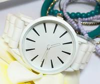 Часы Женева Кварц с силиконовым ремешком белые