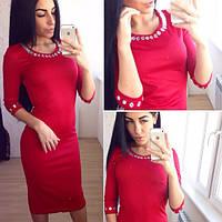 Нежное женское платье с бусинками (красное и синее)