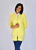 Яркий желтый кардиган из модной ткани