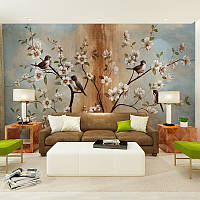 """3D фотообои """"Цветущее дерево с птицами"""""""