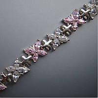 Восхитительный серебряный женский браслет с фианитами, 170мм