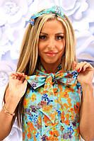 Женское короткое платье в цветочек 42-46