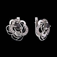 Серебряные серьги Роза Бурбон с эмалью 34051