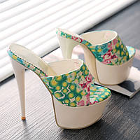 Новинка яркие босоножки принт супер высокий каблук 16см  3 цвета