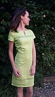 Платье льняное Вышивка салатовое