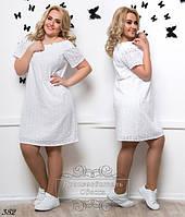 Белое летнее платье хлопок прошва размеры 50-52