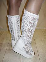 Летние сапоги белые женские на платформе эко-кожа + текстиль