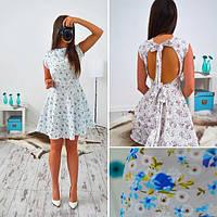 """Платье летнее короткое с открытой спиной """"Мальта"""" разные расцветки SMs292"""