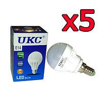 5шт Светодиодная LED лампочка UKC E14 3W
