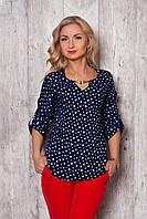 Женская блузка 360 (темно-синий в белые сердечки)