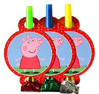 Гудки-язычки Свинка Пеппа 6 шт. на День рождения в стиле Свинка Пеппа