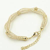 Браслет br-0019 цепочка в золотом цвете с родиевым покрытием