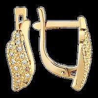 Агат Серьги золотые