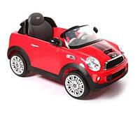 Детский электромобиль Geoby Mini Cooper S W456EQ красный, чехол эко-кожа, пульт дистанционного управления