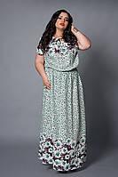 Нежное женское платье с зелеными ромашками