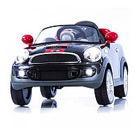 Детский электромобиль Geoby Mini Cooper S W456EQ черный, чехол эко-кожа, пульт дистанционного управления
