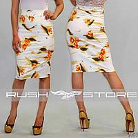 Коттоновая юбка-карандаш с цветочным узором