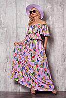 Летнее женское платье сиреневого цвета с принтом, длиной в пол.