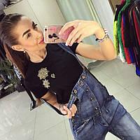 Модный молодежный джинсовый комбинезон