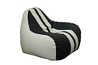 [ Simba Sport H-2200/D-5 M White-Black ] Бескаркасное мягкое кресло-груша бело-черный
