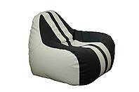 [ Simba Sport H-2200/D-5 S White-Black ] Бескаркасное мягкое кресло-груша бело-черный