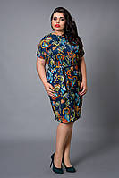 Женское атласное платье синего цвета с модным принтом
