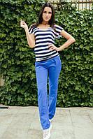 Женский летний костюм брюки с карманами и свободна футболка в полоску