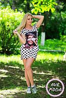 Женское короткое платье с принтом 42-46