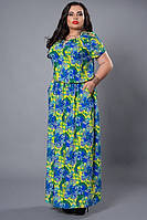 Платье макси из штапеля  желто-синее большой размер