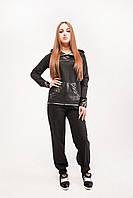 Спортивный костюм женский черный с кожей Гламур