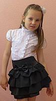 """Школьная юбка для девочек """"Оборочка"""" черный, р-ры 30-38"""