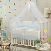 Детское постельное белье Tutti с вышивкой, голубой цвет
