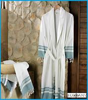 Банный халат тенсел/хлопок Buldans Lykia молочный с голубым s/m