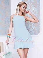 Короткое летнее платье Бити голубое