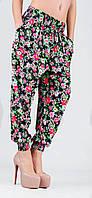Штапельные брюки-шаровары с манжетом