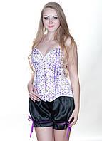Корсет в вишенки в комплекте с шортами K1389