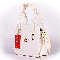 Белая женская сумочка полукруглая с бежевыми вставками