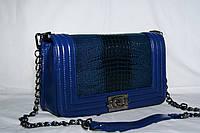 Клатч женский Chanel Le Boy (Шанель Бой), рептилия, большой, синий