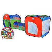 Детская игровая палатка с тоннелем A999-147, два входа, каркас, полимерный тент, 240х74х84 см, сумка