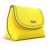 Желтая маленькая сумочка женская матовая молодежная на плечо